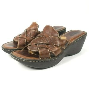 Born Woven Brown Leather Mule Slide Sandals
